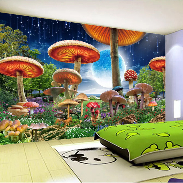 Charming Custom 3D Photo Wallpaper For Kids Room Cartoon Fairy Mushroom Moon Night  View Wall Mural Children Room Bedroom Wall Decor Paper
