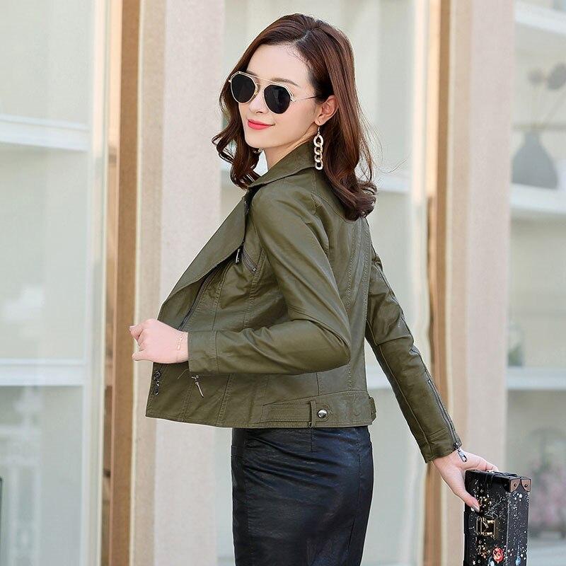 11cd35db94cb8 Cuir Vestes Mode Pu Black Femmes De Faux Zipper Veste Green Femmeal934 Femelle  Printemps Teaegg Noir Manteau ...