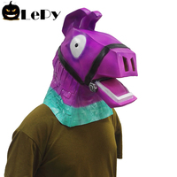 Movie Game Animal Latex Mask Purple Vicugna Pacos Grass Mud Horse Mask Cosplay Helmet Halloween Animal Full Head Mask Props