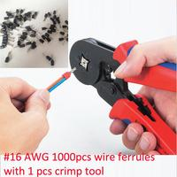 HSC8 6 4A 0.25 6mm2 Terminal Crimping Tool Bootlace Ferrule Crimper and 1K #16 Black E1508 PVC Insulated Bootlace Wire Ferrules