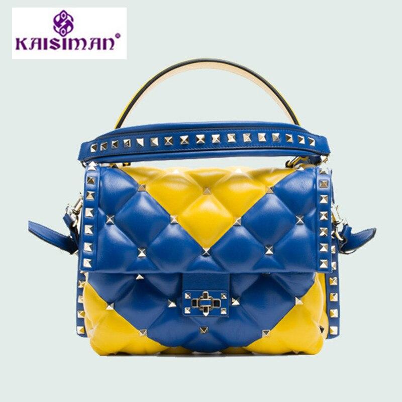 цена на Ladies Genuine Cow Leather Shoulder Bag Fashion Chain Luxury Handbags Women Bags Designer Rivet Totes Bolsas Sac A Main Louis GG