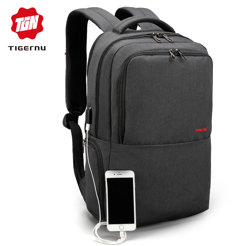 2018 Tigernu Brand 15.6inch Laptop Backpack Waterproof Men Women Backpacks Slim Unisex School bags Bagpack for Teens Black Grey ...