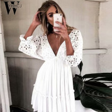 WYHHCJ 2019sexy v-hals hollow out white beach zonnejurk vrouwen zomer batwing mouw kant mini jurken party vestidos mode 2019(China)