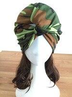 Personalizado Projeto Original Moda Feminina Camuflagem Spandex Turbante Verticais Personalidade Padrão Exército Cruz Headband Hairbands Elásticas