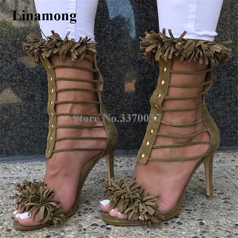 New Fashion Women Suede Leather Tassels Embellished Gladiator Sandals Cut-out Straps Design Rivet High Heel Sandals Dress Shoes spring new fashion pink faux fur women sexy sandals straps cut out unique beading heel ladies dress shoes female party shoes