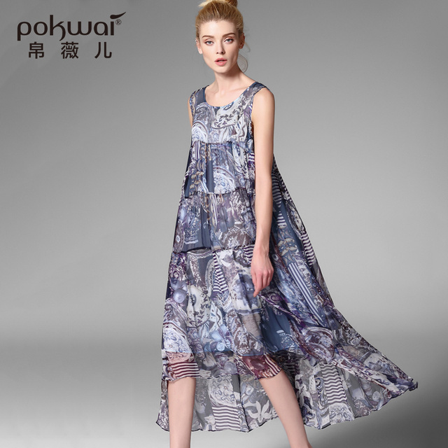 POKWAI High Quality 100% Chinese Silk Dress Women Mid-Calf O-Neck Original