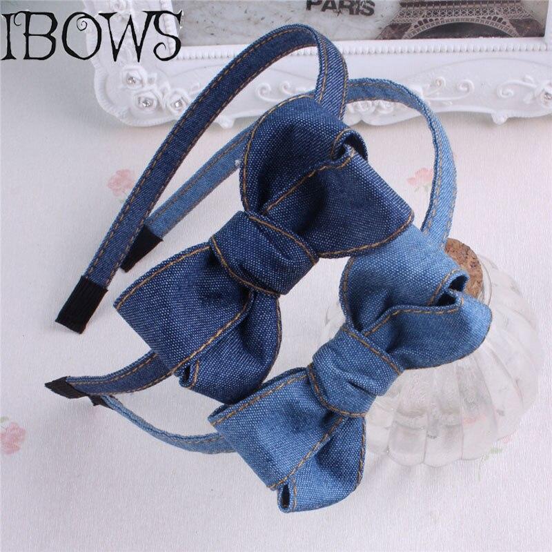 High Quality Denim Headband Cute Bows For Girls Hair Bands Solid Jeans Handmade Hair Accessories Headwear