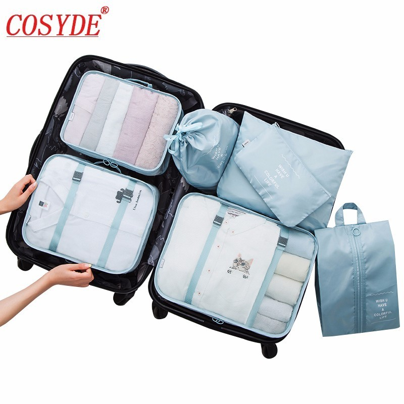 все цены на New Brand 7PCS/set Travel Organizer Bag Waterproof Shoe Clothing Arrange Travel Bags Women Men Cube Luggage Travel Accessories онлайн