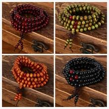 pulseras 108 beads 8mm Natural Sandalwood Buddhist Buddha Wood Prayer Bead Mala Unisex Men bracelets & bangles jewelry bijoux