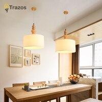 TRAZOS элегантные ткани подвесные светильники Lampadario абажуры подвесной светильник для столовой подвеска бар лампы древесины Кухня освещения