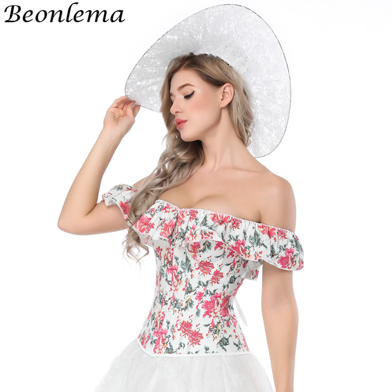 ab952c9f3b1 Beonlema Off Shoulder Corset Sexy Corselet Top Women Backless Ruffles  corpetes e corselet Lace Up White