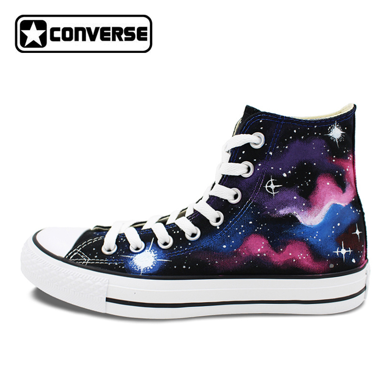 Black High Top Converse Original Galaxy Shoes Nebular Stars Hand Painted Canvas Sneakers Men Women Brand Athletic Shoe