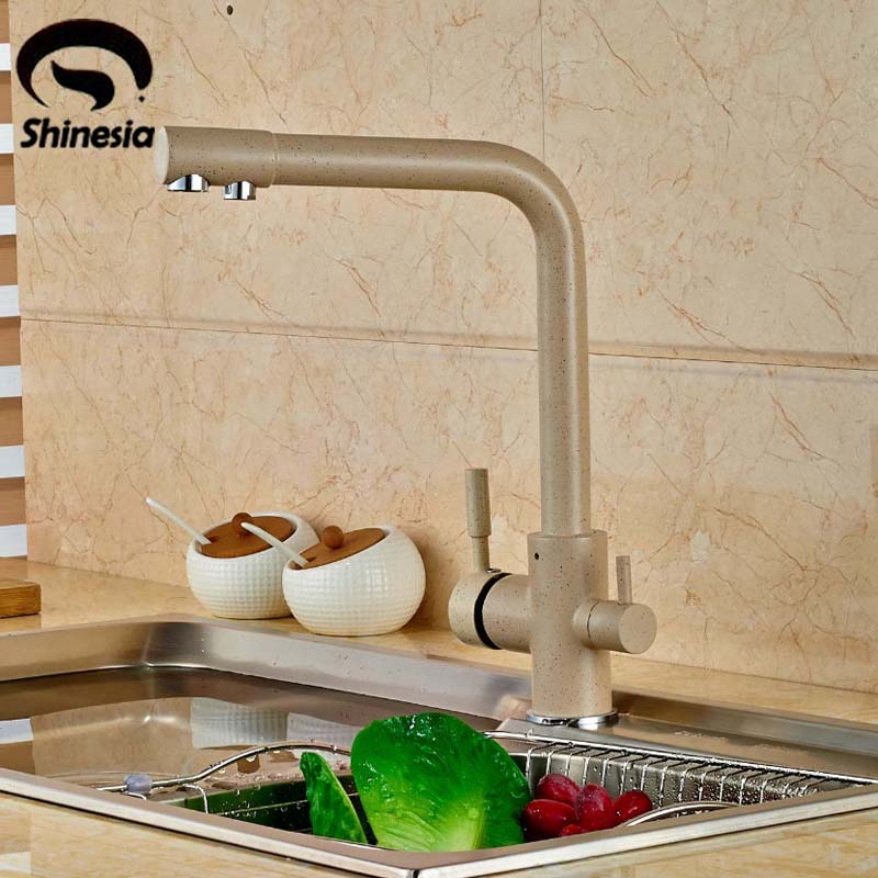Solid Brass Double Spout Kitchen Faucet Pure Water Spout Tap Purified Water Mixer Tap цены онлайн
