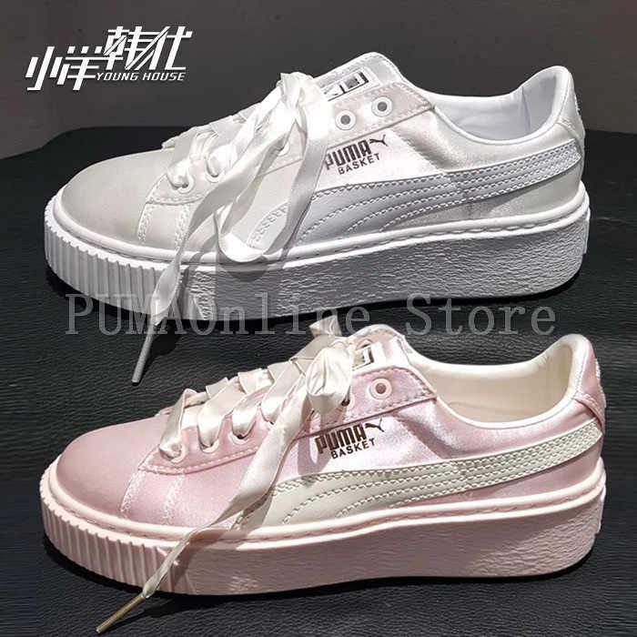 6075775ea22e94 2018 Original Women s Puma Basket Platform Tween JR Training Shoes Whisper  White Pink Badminton Shoes Size