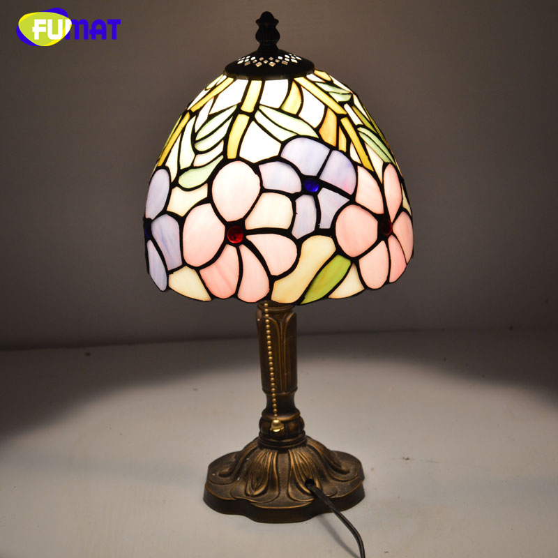FUMAT Stained Glass Table Lamp Morning glory Shade Lamp for Living Room Bedroom Art Creative LED Tiffanylamp Table Lights fumat stained glass pendant lights small hanging glass lamp for bedroom living room kitchen creative art led pendant lights