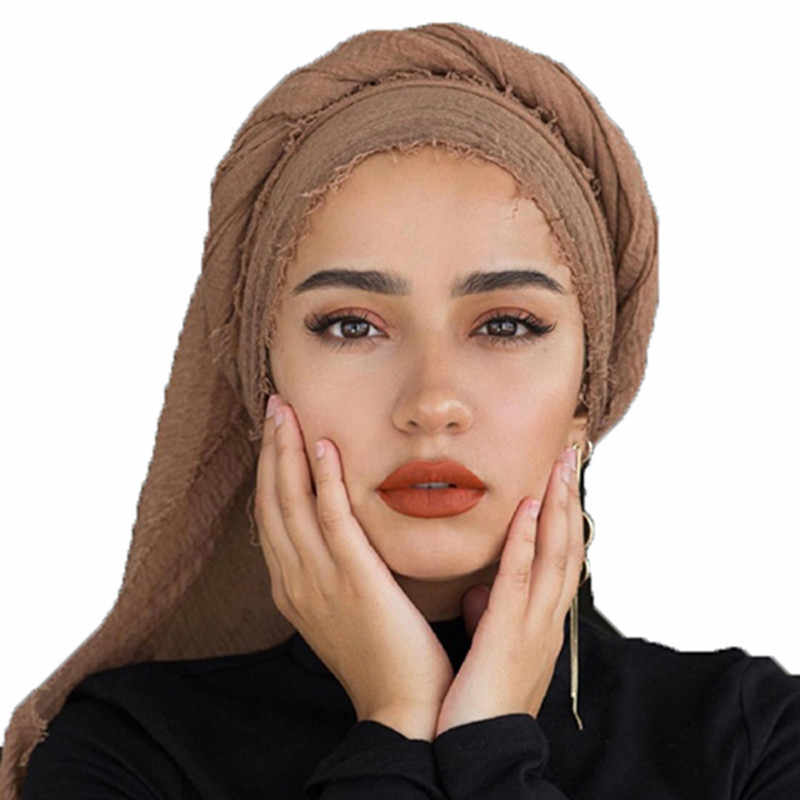 2019 NEW women bubble plain Crinkle Instant Hijab Under Scarf Cotton Linen Muslim wrap and shawl Islam Turban Female Headscarves