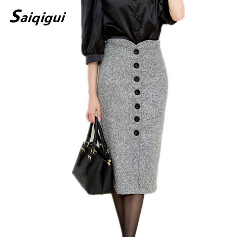 Saiqigui Autumn and Winter Women High Waist Knee Length Pencil Skirt Female Woolen Single Breasted Midi Skirts S-XXL