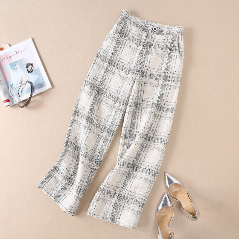 Lady 2018 Col Automne Unique As Pantalon Jambe Large Poitrine Picture Vêtements Plaid Tweed Femmes Costume V Poches Set Ensemble Gilets Office Jc2450 fEgCrwxqE