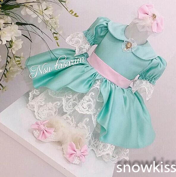 Blue Knee-Length tiered Lace flower girl dresses with Bow Long Sleeves baby 1 year birthday party dress toddler celebration gown