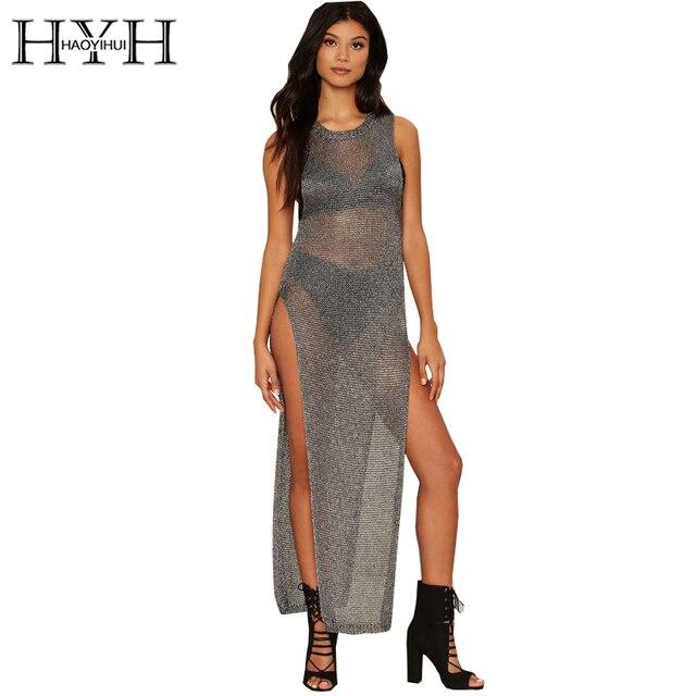 HYH HAOYIHUI Sexy High Split Long Sweater Women Sheer Sleeveless Solid Pullover Female Metallic O-Neck Basic Sweater Ladies