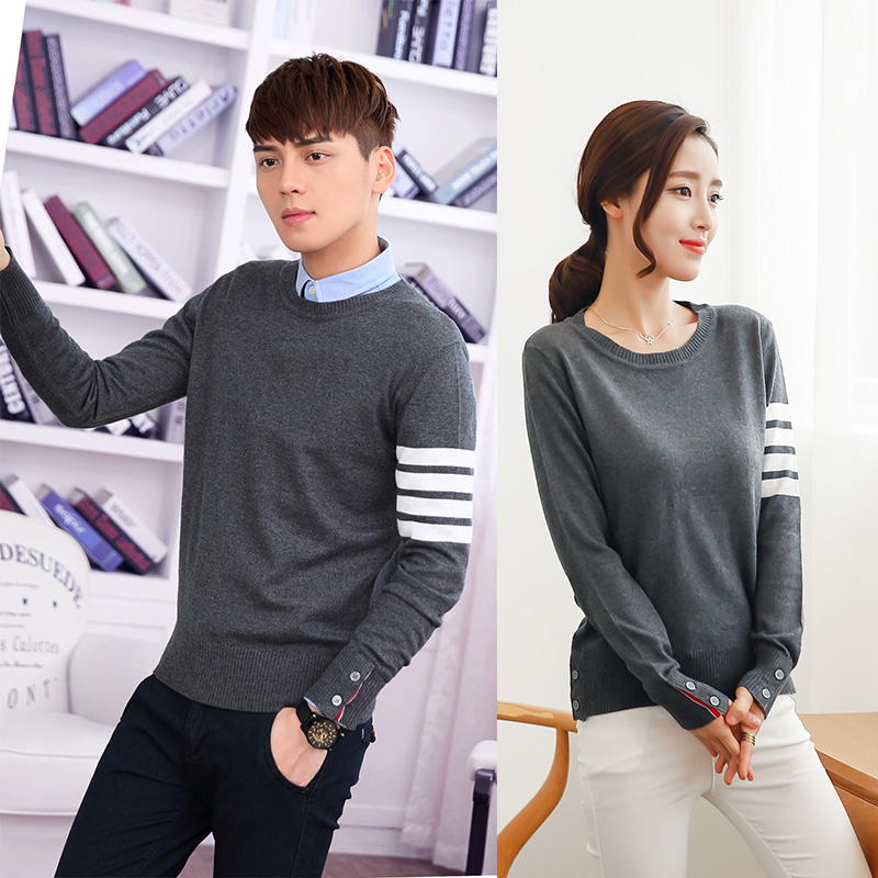 2019 Women & Men Cashmere Sweater Lovers Clothing Couples Matching Pullover Sweater Slim O-Neck Sweater Wool Christmas Gift D205