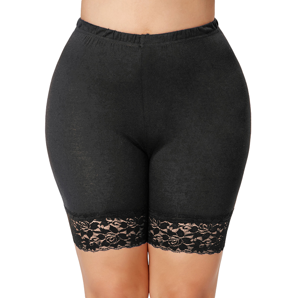 Kenancy Plus Size Lace Insert   Short   High Waist   Shorts   Woman