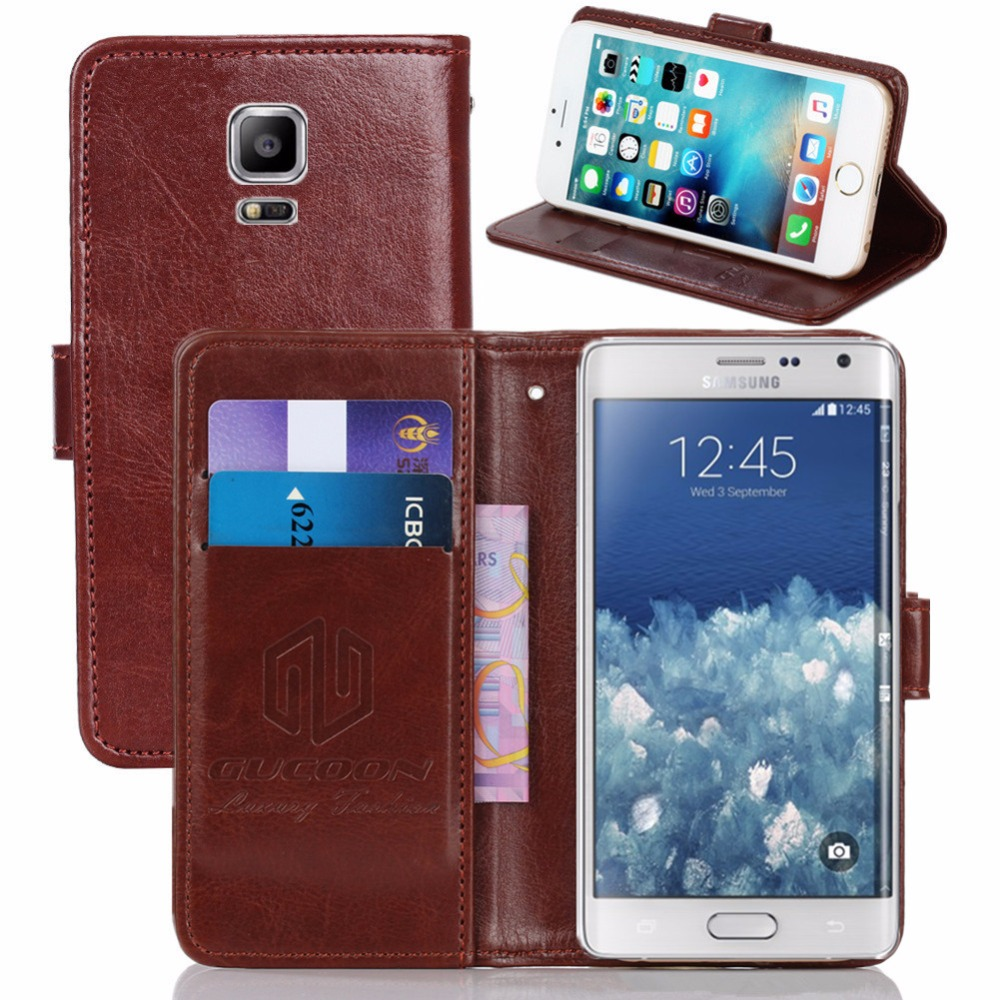 GUCOON Vintage Wallet <font><b>Case</b></font> for Samsung Galaxy Note Edge <font><b>N915</b></font> PU Leather Retro Flip Cover Magnetic Fashion <font><b>Cases</b></font> Kickstand Strap image