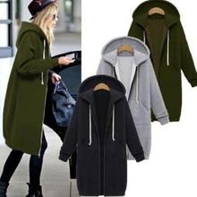 2018 New Hoodies Dress Oversize Cacual Zipper Up Autumn Women Long Sweatshirt Plus Size With Big Pockets For Women Winter Coat