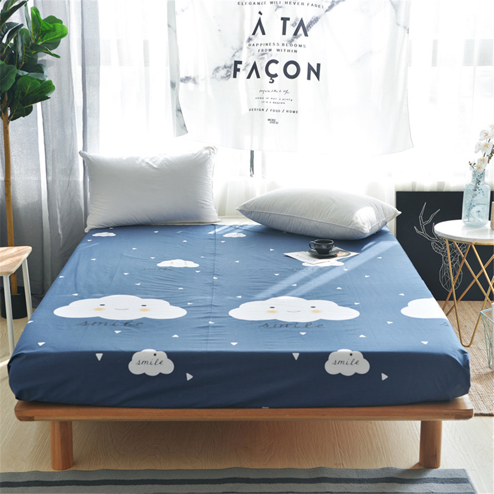 100% Katoen 3 Stks Moderne Mode Blue Sky Witte Wolken Printing Patroon Hoeslaken Multi Size Optioneel Beddengoed Matras Covers Ongelijke Prestaties