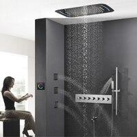 Смеситель клапан Touch Панель светодиодный дождь Насадки для душа водопад Ванная комната набор для душа 71 х 43 см большой туманной Showerhead массаж