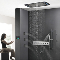 Thermostatic Mixer Valve Touch Panel LED Rain Shower Head Waterfall Bathroom Shower Set 71X43cm Big Misty Showerhead Massage Spa