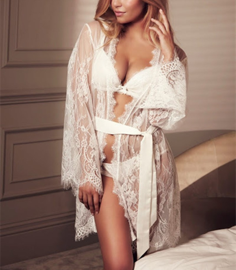 Black Short Hollow Out Mini Bathrobe Women White Belt Lace Night Robe Long Sleeve Lace Sexy Nightgown in Robes from Underwear Sleepwears