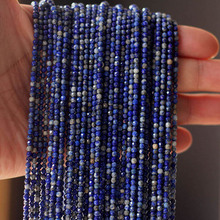 1 Strand Natural Stone Blue Lapis Lazuli Beads 3mm Faceted Loose Spacer Charm Beads for DIY Bracelets Necklace Jewelry Making wholesale 12 18 mm stick shape lapis lazuli blue stone beads for jewelry making diy necklace bracelet material strand 15