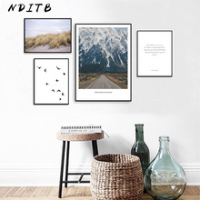 NDITB Scandinavian Decoration Mountain Canvas Wall Art Poster Nordic Style Landscape Print Painting Nature Decorative Pictures