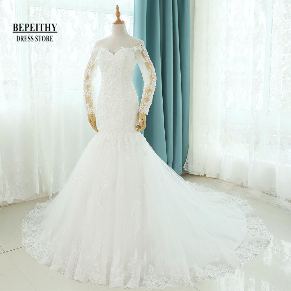 Real Fotos Vestido De Novia Vestidos de Casamento Da Sereia Tribunal Trem Manga Comprida Barato Personalizado Noivas Vestido Longo Lace vestido de Noiva