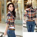 2016 Women Tops Shirts New Brand Blouses Women's Plaid Shirt Full Sleeve For Woman Casual Blouse Female Fashion Shirts 8866-9