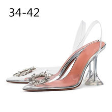 PVC Transparent Crystal Shoes 2019 Summer New Pointed Toe Strange Heel Slingbacks Formal Ladies Bling Bling Party Shoes(China)