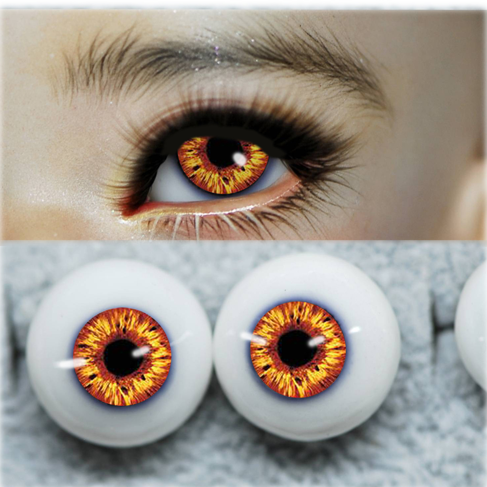 Bjd Eyes Orange Yellow Fire Eyeball For 1/4 1/3 1/6 BJD/SD SD MSD 12mm 14mm 16mm 20mm Round Plastic BJD Doll Doll Accessories F