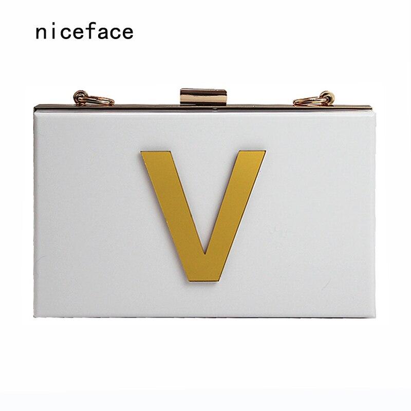 2017 New Wallet gold letters brand fashion evening bag elegant white acrylic Shoulder Bag cute Handbag party cross casual clutch