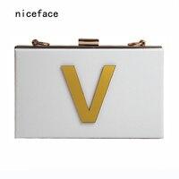 2016 New Gold Letters Magnetic White Acrylic Shoulder Bag Handbag Dinner Party Cross Mobile Phone