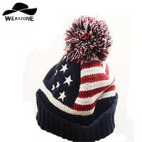 2015 Woman S Hats Stars Striped Winter Cap Knit Wool Thick Beanies Warm Snapback Caps Hairball