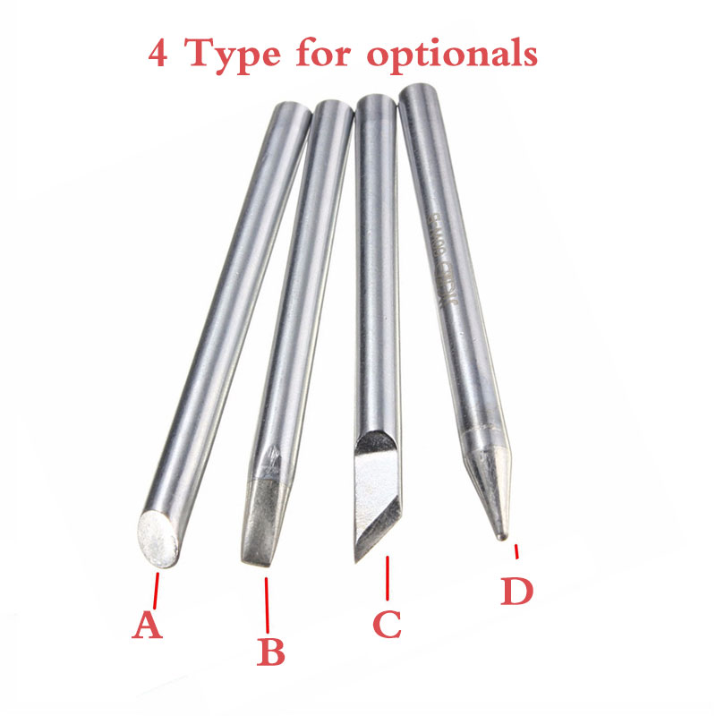 1pc 3.7mm Dia 30W Replaceable Internal Heating Electric Soldering Iron Bit Silverline Four Shape Tips