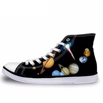 NOISYDESIGNS universo planetas imprimir hombres Top zapatos de lona moda Galaxy estrellas Lace Up vulcanizar zapatos masculinos planos ocasionales