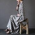 Женщины летом белье халат платье свободно плюс размер Полосатый платья литературный О-Образным Вырезом три четверти рукав середины икры старинные