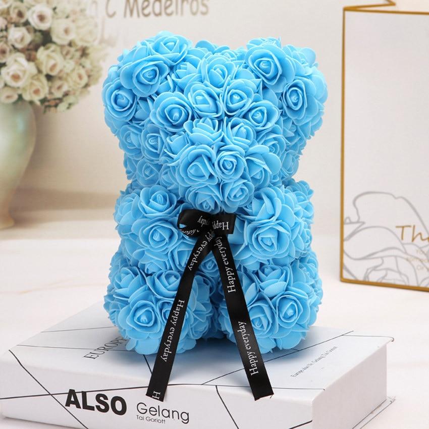 Горячая Распродажа, подарок на день Святого Валентина, 25 см, красная роза, плюшевый мишка, цветок розы, искусственное украшение, рождественские подарки для женщин, подарок на день Святого Валентина - Цвет: Light blue25cm NoBox