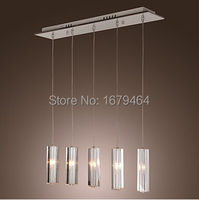 Stainless Steel 5 Light Mini Bar Pendant Light With K9 Crystal Ball Drop