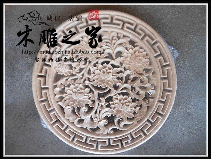 Dongyang wood carving in European peony flowers rich living room wall mural disc pendant wood ceiling 37CM
