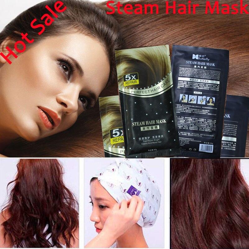 4pcs Free Shipping 2018 Hot  Automatic Heating Steam Hair Mask Keratin Argan Oil Treatment Hair Coarse, Dry, Split Ends