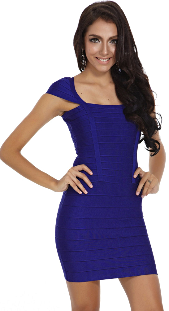 Bright New Fashion 2018 Square Neck Cap Sleeve Hl Slim Heavy Rayon Sexy Girl Blue Bandage Dress Up-To-Date Styling