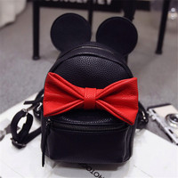 2017 Hot Baby Girls Backpack Cartoon Cute Bowknot Minnie Kids Backpacks Princess Mini Bag Bow Mouse